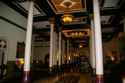 The Driskill lobby and reservation desk