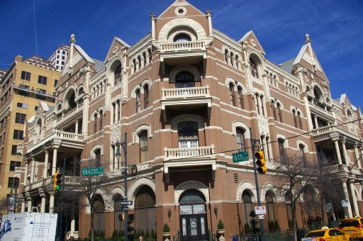 The Driskill sits at the intersection of Brazos and 6th street